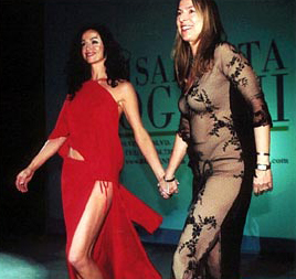 Sofia Milos and designer Elisabetta Roggiani for the grand finale of her Fashion Show in Los Angeles.
