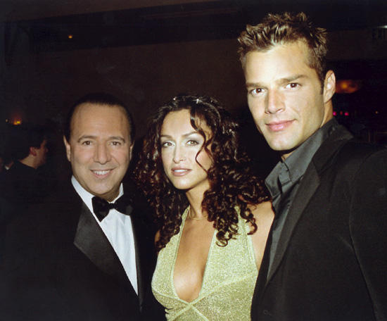 Sofia with Tommy Mottola (Chairman & CEO of Sony Music) and Ricky Martin at Sony's After-Grammy party.