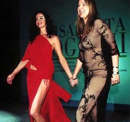 Sofia Milos and designer Elisabetta Roggiani for the grand finale of her Fashion Show in Los Angeles.