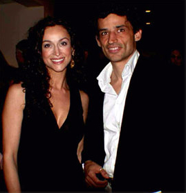Sofia Milos with Enrico Lo Verso at the Los Angeles Italian Film Festival 2002. Milos was a member of the Jury this year and Lo Verso received an Award.